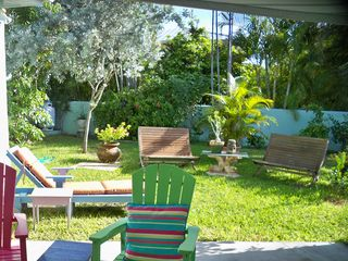 Key West house photo - backyard with walled in lawn/pet area