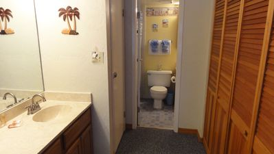 New Smyrna Beach condo rental - Convenient vanity area outside of bathroom