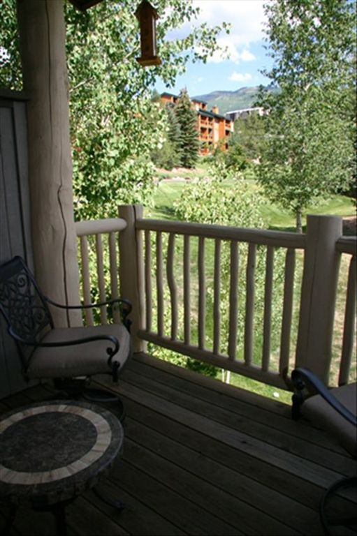 Enjoy the spectacular view of Steamboat Mountain from the back deck