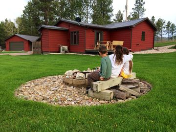 Custer cottage rental - enjoy the fire pit with friends and family