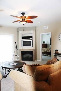 Osage Beach condo rental - Electric fireplace and flat screen tv