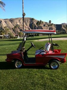 1957 Chevy repro golf cart. Take it for a ride!