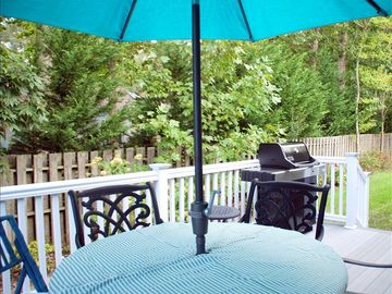 Relax and enjoy your barbeque meals on the quiet deck.