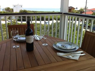 Seagrove Beach house rental - Dinner outside with beautiful gulf views. Holds up to eight people.