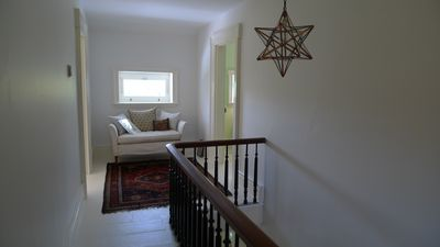Moravian star and original walnut railing