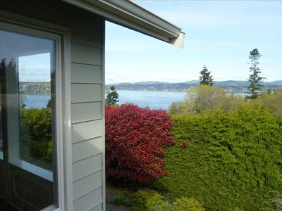 JULIET BALCONY and view of Lake Washington through Master Bedroom French doors.