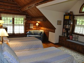 Piseco Lake lodge photo - Another View of the Second Bedroom with 2 Twins and a Single Convertible Couch.