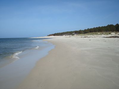 Miles of beautiful beach. Swim in beautiful bay, explore beach for treasures.