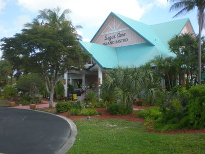 Sugar Cane Island Bistro, on site, great for lunch at poolside or dinner