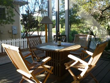 Teak Dining Set In Large Screened-In & Covered Porch Off Living Room