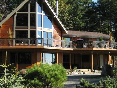 The rental unit isthe lower level of this Lindal Cedar home.