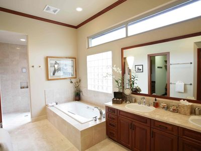 Indulgent master bath with tub and double vanity