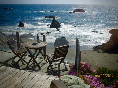 What an amazing spot on your deck to enjoy good food, wine and the surf!