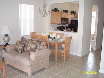 kitchen, lounge, dining area