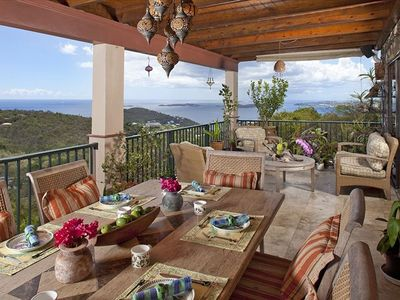 Cruz Bay villa rental - Main level balcony dining and sitting area