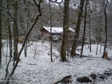Snow at the cabin in the winter