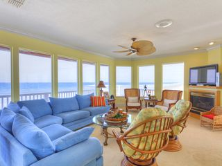 "Summer Haven house photo - 3rd floor living room has sweeping ocean views & 50"" HDTV."