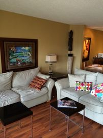 Greers Ferry Lake condo rental - Living Room has lots of room and two large comfortable sofas that will sleep two