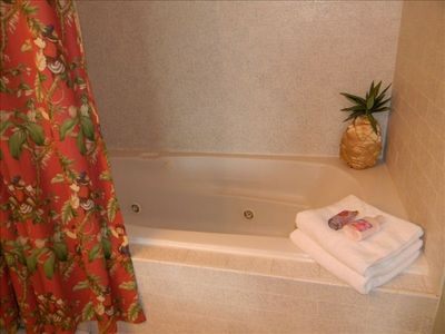 Relax after a day at the lake in your master bath's jetted tub.