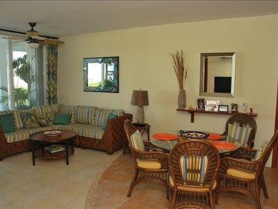 A very spacious living & dinning room with access to the balcony.