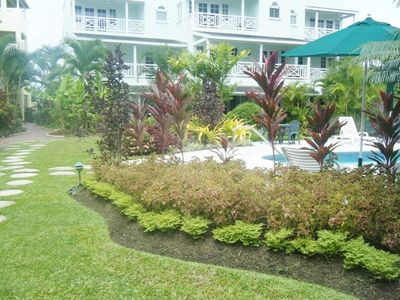 Gardens around the pool at Margate facing unit #2 (ground floor)