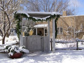Santa Fe house photo - Front entrance in winter preparing for Christmas.