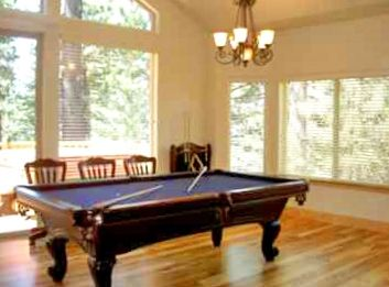 Billiard area with a deck
