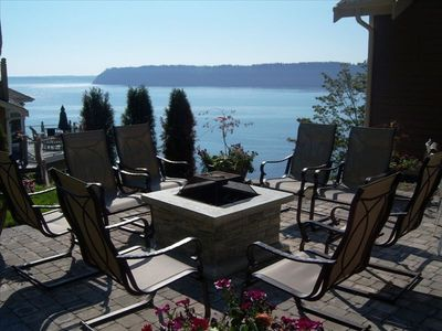 Firepit on back patio, overlooking Camano, Whidbey Islands