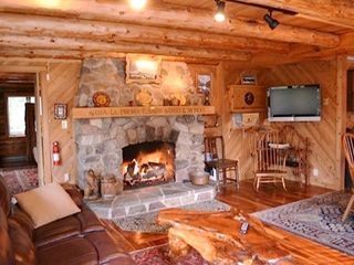Lake Placid cabin photo - Living Room with Gas Fireplace and Wide Screen TV