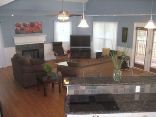 Galveston house photo - Spacious open living room with big screen Sony 50