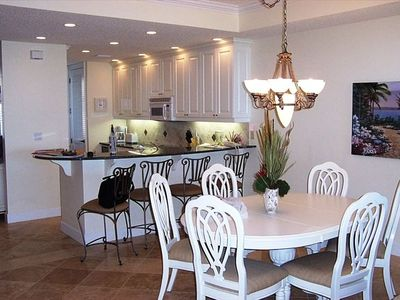 Fully Equiped Gourmet Kitchen and Elegant Open Dining Area - all with Ocean View
