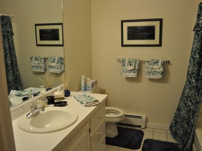 full bath near downstairs bedrooms and rec room