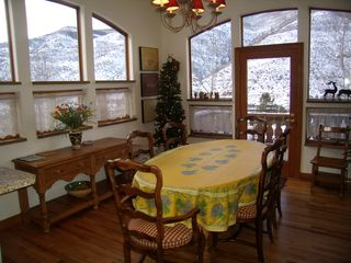 Vail house photo - Dining Room with Fireplace, Large Deck, Mountain Views