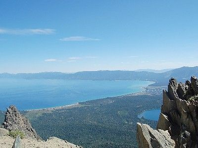 View of Tahoe Keys (adjacent to miles of beach) from the top of Mt. Tallac