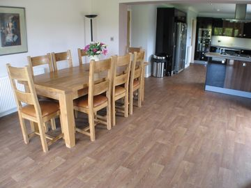 Dining area with patio doors to garden