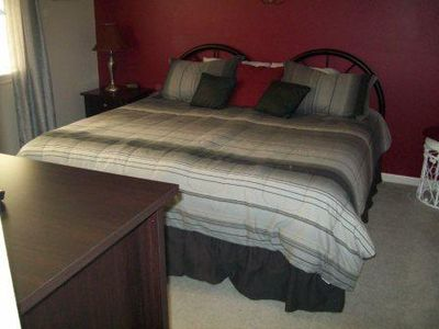 Guest Bedroom set up as King.  Room has twin bed option w/ matching bed covers