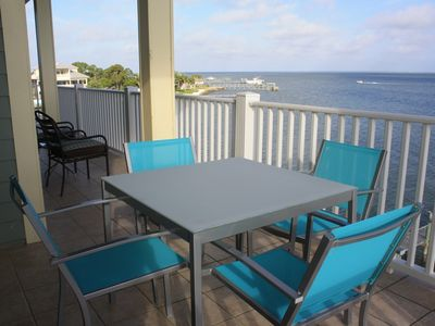 Enjoy panoramic views from the middle level Bayfront deck