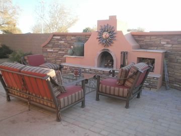 Queen Creek house rental - Sink into these comfortable patio chairs & enjoy an evening around the wood fire
