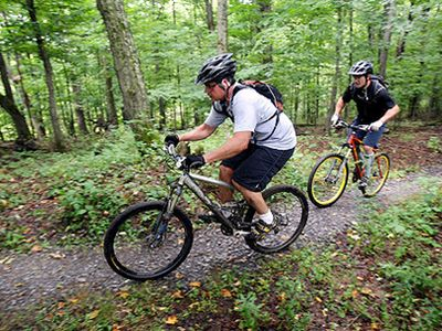 Raystown Allegrippis biking trails less than a 1/3 mile bike ride from the home.