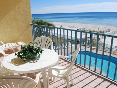 Watch for dolphins and keep an eye on the pool from your huge balcony!