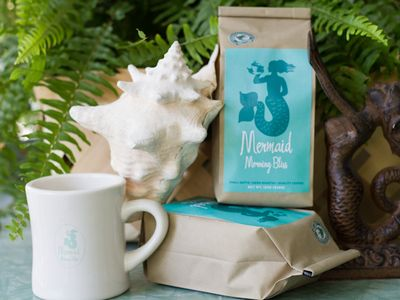 Mermaid Morning Bliss coffee available for purchase at Seaside Sisters.