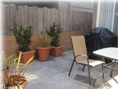Mission Beach townhome rental - Your private patio with BBQ grill underneath the stairs ( no ocean view)