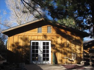 Wrightwood cabin photo - The Hideaway's French Door and Deck - Wrightwood Cabin