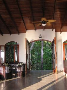 Ojochal villa rental - Foyer/Wraparound balcony to watch tropical fauna.