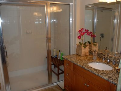 Oceanside condo rental - Master Bath with Step In Shower