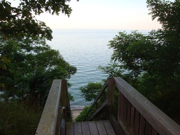 Lake Michigan overlook and beach stairs nearby