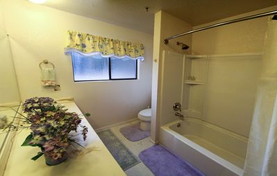 Upstairs bathroom--tub, shower, and double sinks