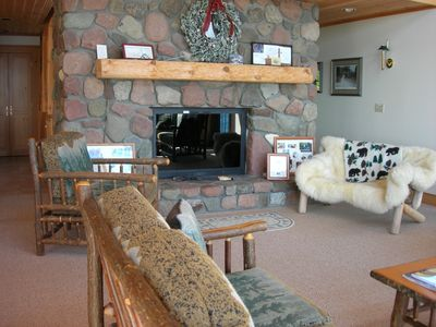 Lutsen house rental - wood burning fireplace in living room