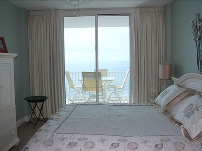 Master bedroom overlooks the gulf with an entrance to balcony