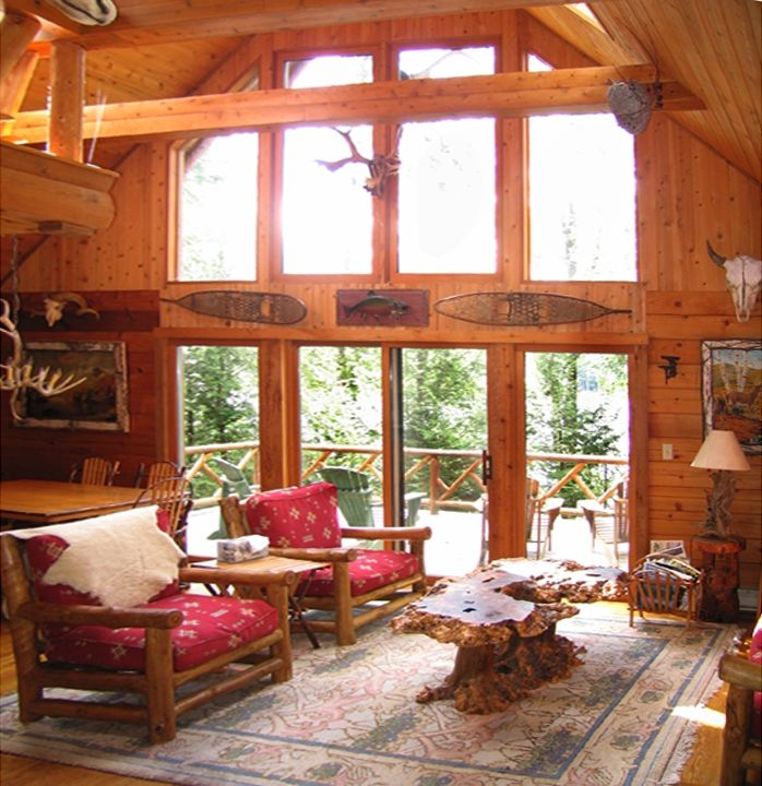Thurman Pond lodge rental - The great room overlooking the lake.
